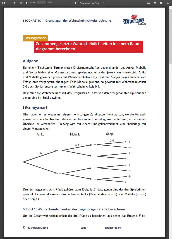 Einem Funktionsterm den zugehörigen Graph zuordnen - Touchdown Mathe